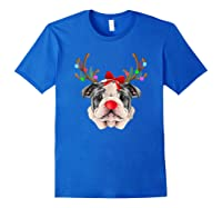 Funny Bulldogs With Antlers Light Christmas Shirts Royal Blue