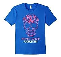 Breast Cancer Awareness Month Skull Halloween Shirts Royal Blue