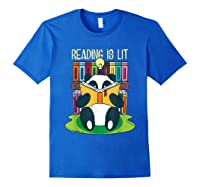 Reading Is Lit Panda Bear Funny English Tea Tee T Shirt Royal Blue