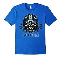 Seattle Football Helmet Sugar Skull Day Of The Dead T Shirt Royal Blue