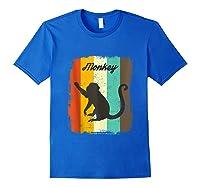 Monkey Shirt Retro 70s Vintage Animal Lover Art Design Tank Top Royal Blue