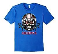 Arizona Football Helmet Sugar Skull Day Of The Dead T Shirt Royal Blue