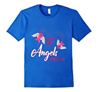 I Believe There Are Angels Among Us Breast Cancer Awareness T Shirt Royal Blue