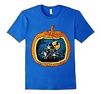 Funny Pumpkin Vintage Halloween Pumpkin Costume Shirts Royal Blue
