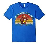 Shuh Duh Fuh Cup Bear Drinking Beer Camping Vintage T Shirt Royal Blue