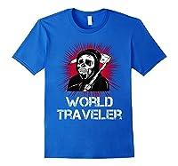 Grim Reaper World Traveler Dark Humor Black Metal Shirts Royal Blue