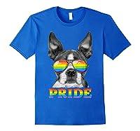 Boston Terrier Gay Pride Lgbt Rainbow Flag Sunglasses Lgbtq T-shirt Royal Blue