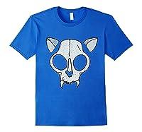Spooky Cat Skull Halloween Creepy Horror Kitty Skeleton Face T Shirt Royal Blue
