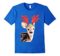 Cute Festive Fawn Wearing Reindeer Antlers Shirts Royal Blue
