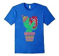 Cactus Christmas Tree Gift Santa Xmas Succulent Plant Lover T-shirt Royal Blue