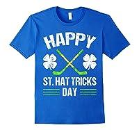 Saint Hattrick S Hockey St Patrick S Day Shamrock T Shirt Royal Blue