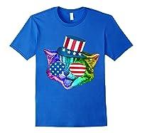 Ally Rainbow Cat Lesbian Gay Pride Gift America Flag Shirts Royal Blue