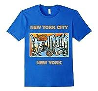 Lotta Shirts New York City Ny Postcard Greetings T Shirt Royal Blue