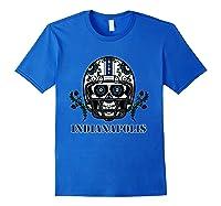 Indianapolis Football Helmet Sugar Skull Day Of The Dead T Shirt Royal Blue
