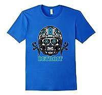 Detroit Football Helmet Sugar Skull Day Of The Dead T Shirt Royal Blue