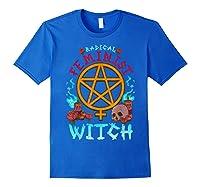 Radical Feminist Witch Pentagram Wiccan Resist Impeach T Shirt Royal Blue