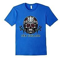 New England Football Helmet Sugar Skull Day Of The Dead T Shirt Royal Blue