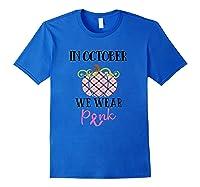 October Breast Cancer Awareness Month Pumpkin Vintage Truck T Shirt Royal Blue