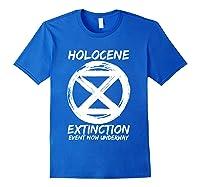 Holocene Mass Extinction Event Symbol Climate Change Science T Shirt Royal Blue