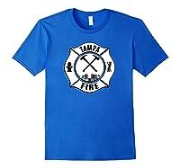 Tampa Fire Rescue Departt Florida Firefighters Uniform Shirts Royal Blue