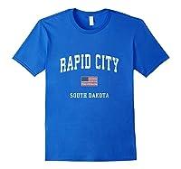 Rapid City South Dakota Sd Vintage American Flag Sports T Shirt Royal Blue