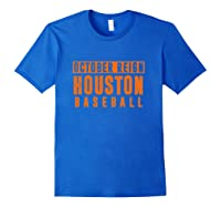Distressed October City Baseball Apparel   Houston Reign T-shirt Royal Blue
