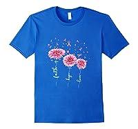 Faith Hope Love Pink Daisy Flower Breast Cancer Awareness T Shirt Royal Blue