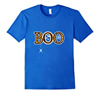 Boo Halloween With Spider Web And Bats Shirts Royal Blue