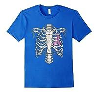 Skeleton Halloween Shirt Breast Cancer Awareness Month Tee Royal Blue