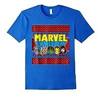 Avengers Classic Ugly Christmas Sweater Shirts Royal Blue