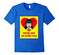 Halloween Bloody Not My Blood Type Vampire Graphic Shirts Royal Blue