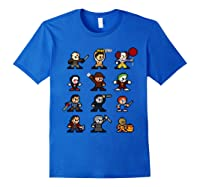 Friends Pixel Halloween Icons Scary Horror Movies Shirts Royal Blue