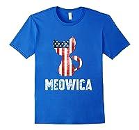 Patriotic 4th Of July Shirt Meowica American Flag Cat Lovers T-shirt Royal Blue