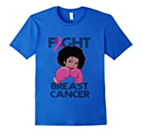 Fight Breast Cancer Awareness Month Gift Black T Shirt Royal Blue