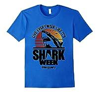 Shark Week Live Every Week Like It's Shark Week Retro T-shirt Royal Blue