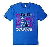 Pink Ribbon Breast Cancer Fighters Survivors Awareness Shirt T Shirt Royal Blue