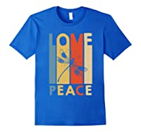 Love Peace Dragonfly Hippie Funny Shirts Royal Blue