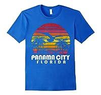 Vintage Retro Pa City Fl Florida Sunset Distressed Style T Shirt Royal Blue