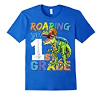 Roaring 1st Grade Dinosaur Back To School Backpack Shirt Boy Royal Blue