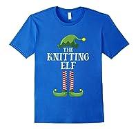 Knitting Elf Matching Family Group Christmas Party Pajama Shirts Royal Blue