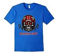 Kansas City Football Helmet Sugar Skull Day Of The Dead T Shirt Royal Blue