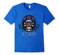 Chicago Football Helmet Sugar Skull Day Of The Dead T Shirt Royal Blue