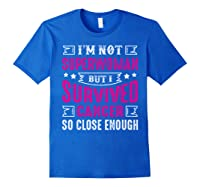 Survived Breast Cancer Awareness Month Pink Ribbon T Shirts Royal Blue