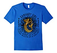 January Girl The Soul Of A Mermaid Tshirt Funny Gifts Royal Blue
