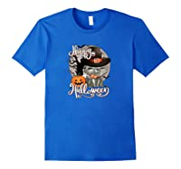 Happy Halloween Cute Cat In Witch Hat Pumpkin Spooky Novelty Shirts Royal Blue