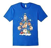 Pomeranian Christmas Tree Gift Xmas Holiday Shirts Royal Blue