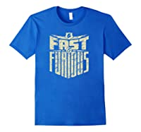 Fast Furious Distressed Lightning Bolt Word Stack Pullover Shirts Royal Blue