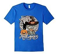 Happy Halloween Cute Cat In Witch Hat Pumpkin Spooky Novelty T Shirt Royal Blue