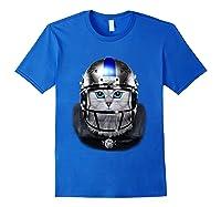 Cute Tabby Cat As American Football Player T-shirt Royal Blue