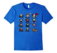 Friends Pixel Halloween Icons Scary Horror Movies Pullover Shirts Royal Blue